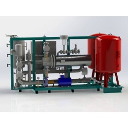 Hot water heating system, thermal oil or steam heated