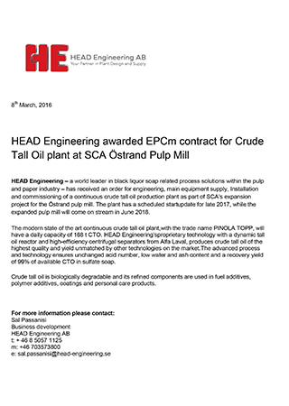 HEAD Engineering awarded EPCm contract for Crude Tall Oil plant at SCA Östrand Pulp Mill