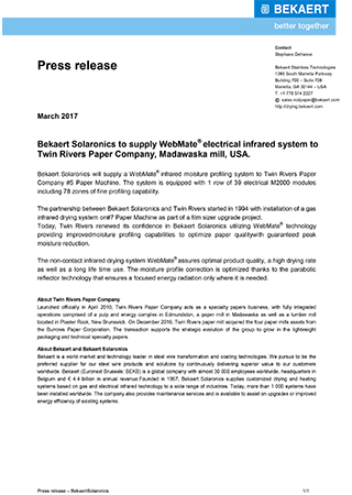 Bekaert Solaronics to supply WebMate® electrical infrared system to Twin Rivers Paper Company, Madawaska mill, USA.