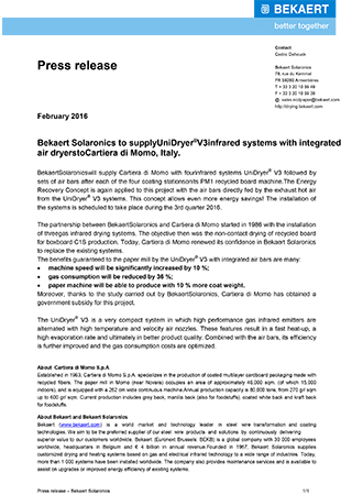 Bekaert Solaronics to supply UniDryer® V3 infrared drying systems and air bar dryers to Kyiv Cardboard & Paper Mill, Ukraine
