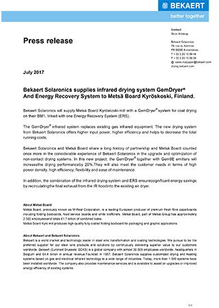 Bekaert Solaronics supplies infrared drying system GemDryer® and Energy Recovery System to Metsä Board Kyröskoski, Finland