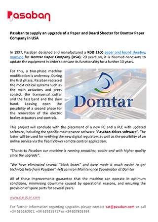 Pasaban to supply an upgrade of a Paper and Board Sheeter for Domtar Paper Company in USA