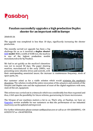 Pasaban successfully upgrades a high production Duplex sheeter for an important mill in Europe