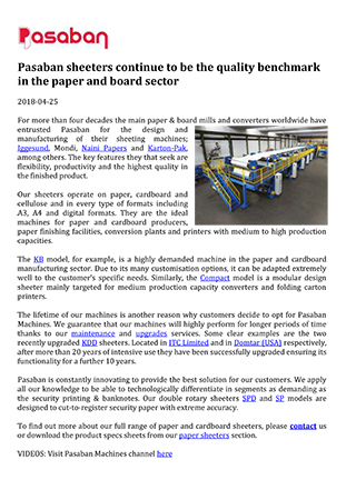 Pasaban sheeters continue to be the quality benchmark in the paper and board sector