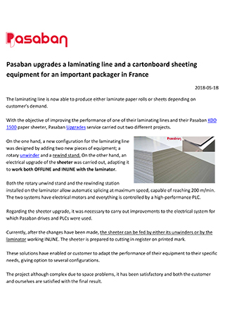 Pasaban upgrades a laminating line and a cartonboard sheeting equipment for an important packager in France