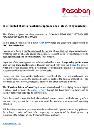 ITC Limited chooses Pasaban to upgrade one of its sheeting machines
