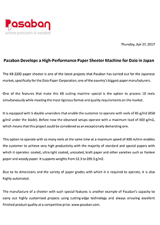 Pasaban Develops a High-Performance Paper Sheeter Machine for Daio in Japan