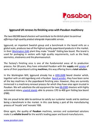 Iggesund UK renews its finishing area with Pasaban machinery