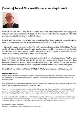 [Swedish] Roland Bäck anställs som utvecklingskonsult